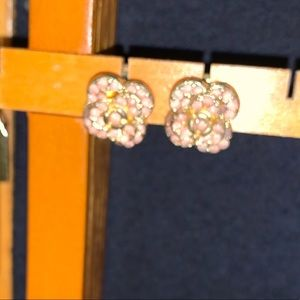 Light pink and gold flower earrings
